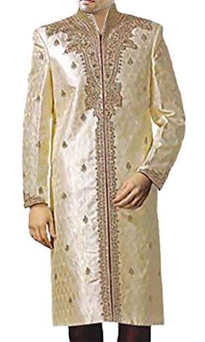 INMONARCH Mens Superb Traditional Wedding Sherwani SH151 54XL Cream
