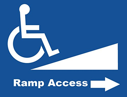 "Corneria 10X10"" Handicap Disabled Wheelchair Ramp Access Signs Window Door Self Adhesive Bumper Sticker Decals"