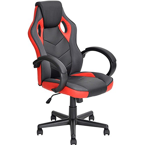 Coavas Computer Chair Gaming Chair Racing Chair Office High Back PU Leather Computer Chair Executive Swivel Task Desk Chair(Black+ red)