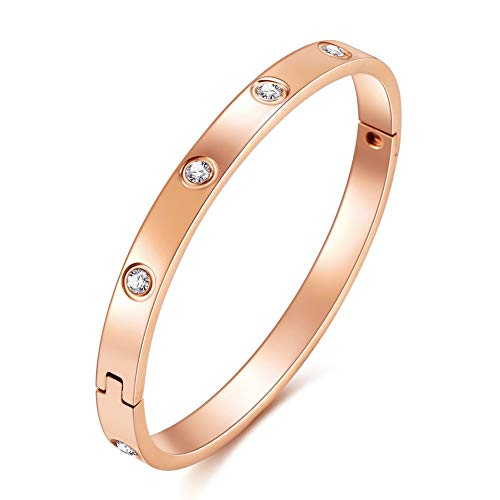 - Sorrido Metal Marvels Bangles,Titanium Steel Not Fade,10 AAA+Artificial Cubic-Zirconia,Bella Perlina Bracelets Bangle for Women and Girls (Rose Gold Color)