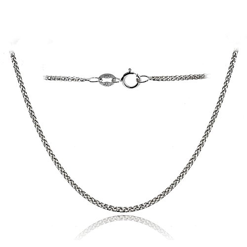 Bria Lou 14k White Gold .8mm Italian Spiga Wheat Chain Necklace, 18 Inches by Bria Lou