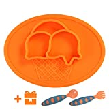 Yii Silicone Baby Placemat with Suction Divided Kids Plates& Bowl for Restaurant, Dining Mats for Children Feeding, FDA Approved Microwave Safe Toddler Plates. Bonus-Baby Utensils Set, Orange