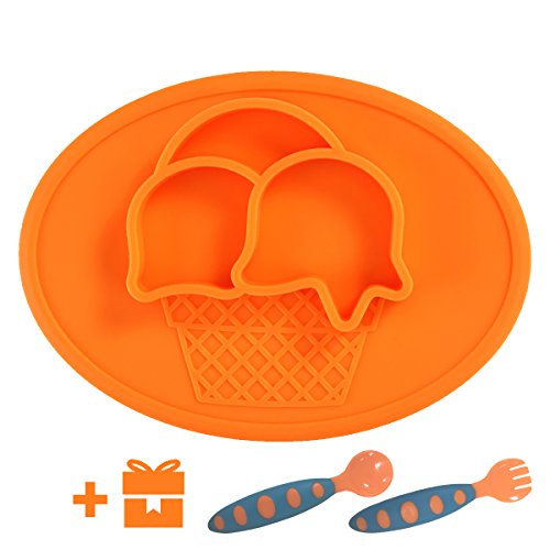 Yii Silicone Baby Placemat with Suction Divided Kids Plates& Bowl for Restaurant, Dining Mats for Children Feeding, FDA Approved Microwave Safe Toddler Plates. Bonus-Baby Utensils Set, Orange by Yii Design