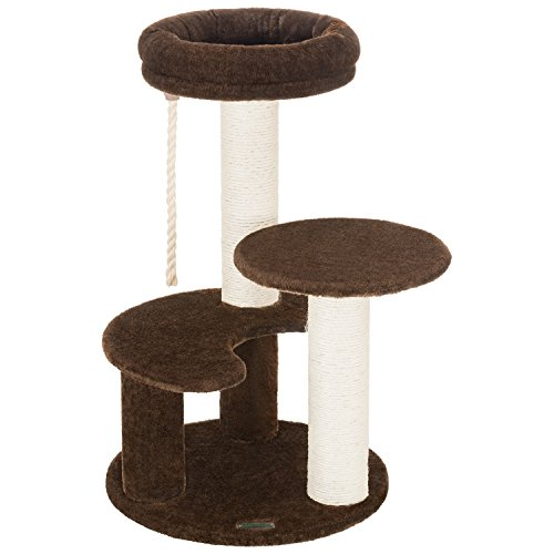 Ollieroo Small Cat Tree Condo Playhouse with Sisal Scratch Posts Kitten Furniture Tower Moon Shaped Ladder (Brown)