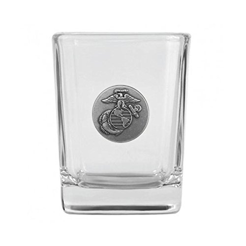 (Indiana Metal Craft US Marine Corps Nickel Silver Emblem Shot Glass. Made in)