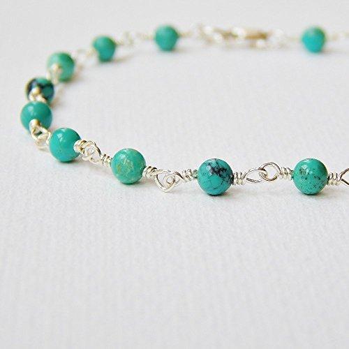 Turquoise Bracelet in Sterling Silver (Sterling Beaded Turquoise Silver Bracelets)