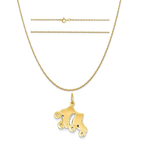 14k Yellow Gold Roller Skates Charm on a 14K Yellow Gold Carded Rope Chain Necklace, 20