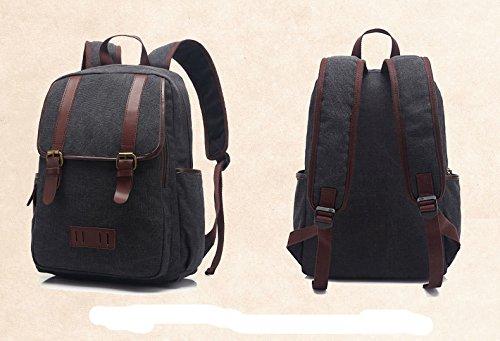 WTUS Mujer y Hombre nueva personalidad de la moda retro de lona gran mochila mochila mochila de viaje entre hombres y mujeres negro