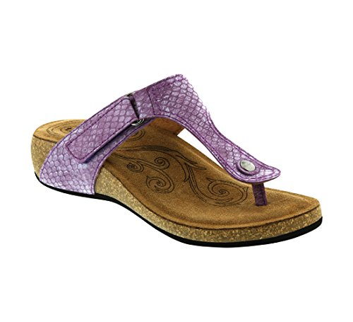Taos Women's Lucy Wedge Sandal, Lavender, 39 EU/8-8.5 M (Lavender Leather Footwear)