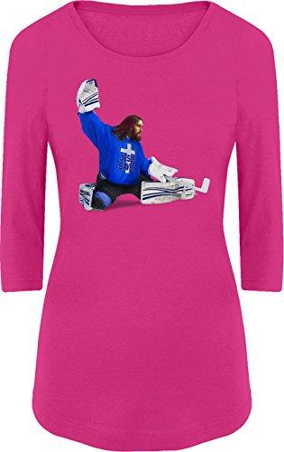 BSW Women's Jesus Saves Christian Hockey 3/4 Sleeve XS Raspberry