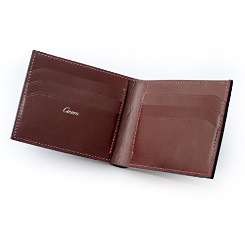 Cicero Luxury Bifold Men's Leather Wallet Handmade Hand-Stitch With Premium Full Grain Calf Leather (Brown, Blue, Green, Red), Men's Wallet Gift
