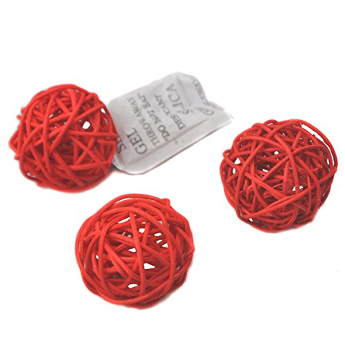 Ougual Set of 10pcs Wicker Rattan Balls Table Wedding Party Christmas Decoration (Diameter 5cm, Red) (Vase Tall Rattan)