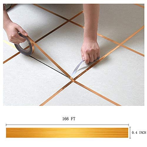 Eanpet 0.4 Inch x 166 Ft Tile Stickers Decorative Floor Wall Sticker Foil Line Peel and Stick Adhesive Waterproof Gap Cover for Kitchen Bathroom Living Room Bedroom (1pc Roll) Gold