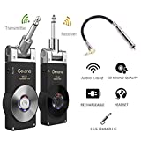 Getaria Wireless Guitar System Rechargeable Digital Transmitter Receiver Set for Electric Guitar Bass with 3.5mm to 6.35 mm (1/4 inch) Male to Female Stereo cables
