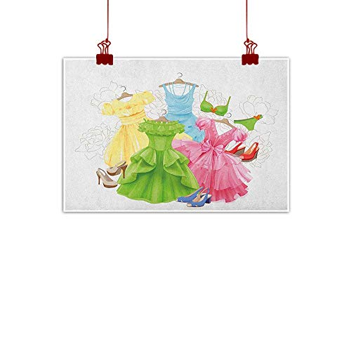 Canvas Prints Wall Art Heels and Dresses,Princess Outfits Bikini Shoes Wardrobe Party Costumes in Girls Design, Multicolor 32