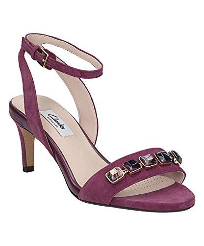 (CLARKS Women's Amali Opal Ankle Strap Sandal,Plum Suede,US 9)