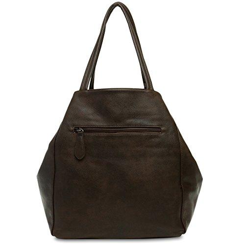 CASPAR Fashion - Bolso de asas para mujer marrón oscuro