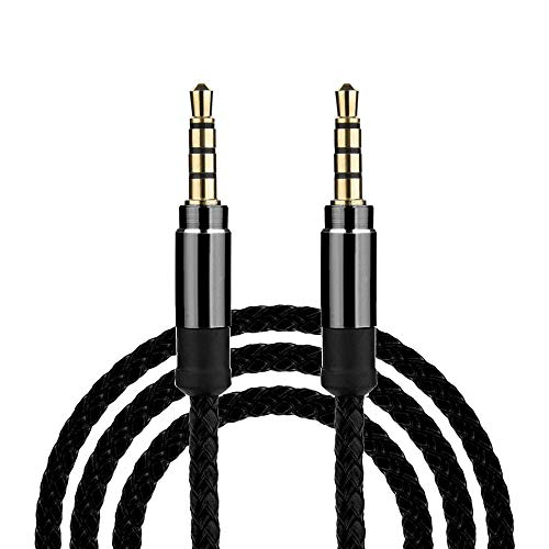 (USB Adapter, Sacow 3M/10Ft Braided Male to Male Aux 3.5mm Jack Stereo Audio Cable for Cell Phone Tablet (Black))