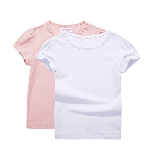 (UNACOO Girls' Round Neck Basic T-Shirt Classic Short Sleeve Jersey Tee (White+Pink,(4-5T)))