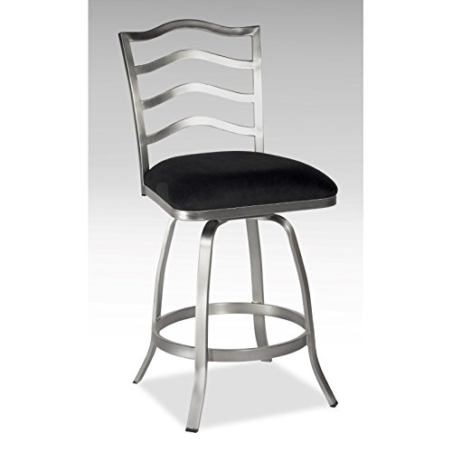 (Chintaly Imports 0734 Memory Return Swivel Counter Stool, 26-Inch, Nickel Plated/Black)