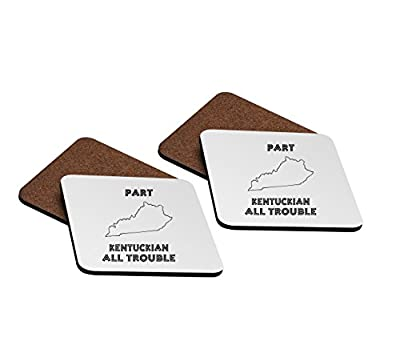 Part Kentuckian All Trouble Kentucky 4''x4'' Hardboard Coasters - Set of 4