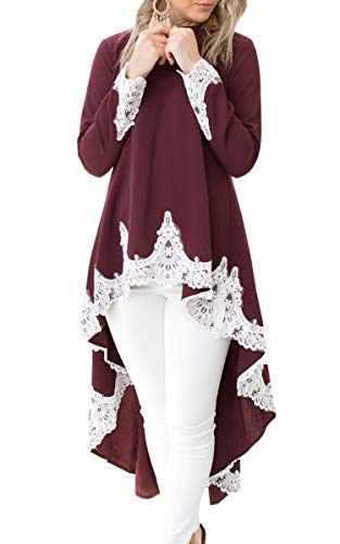 2caa7093f86 Jual Hibluco Women s Lace Patchwork High Low Asymmetrical Tunic Top ...