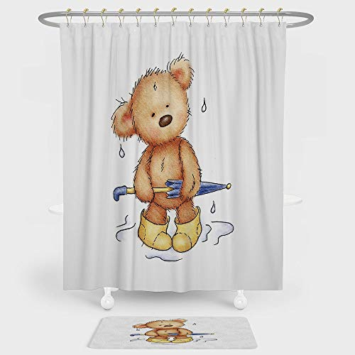 Rubber Ducky Rain Boot - Bear Shower Curtain And Floor Mat Combination Set Teddy Bear Caught up in Rain with Rubber Boots Holding an Umbrella Cartoon For decoration and daily use Sand Brown Yellow Blue