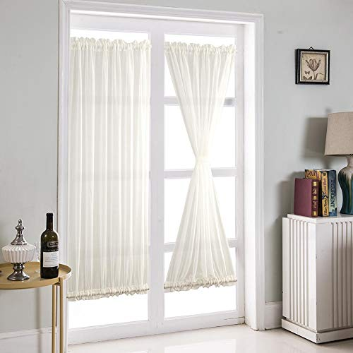 (Boyouth Dual Rod Pocket Transparent Voile White French Door Drapes with Tieback,25x40-Inch,2 Panels)