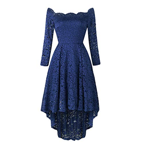 Toimothcn Women Lace Party Dress Long Sleeve Off Shoulder Wedding Evening Party Dress(Navy3,M) ()