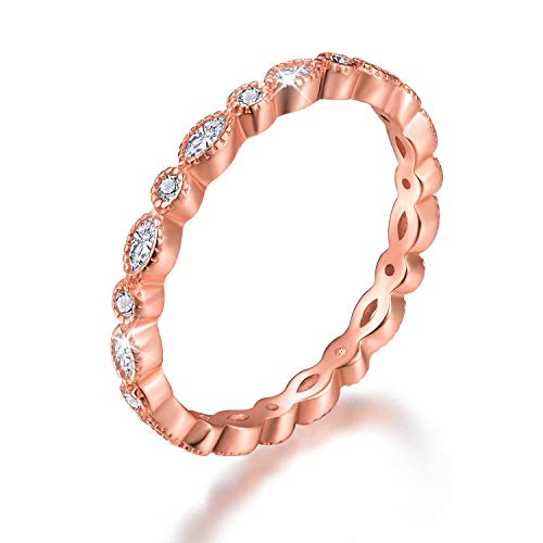 Esberry 18K Gold Plating 925 Sterling Silver Cubic Zirconia Stackable Rings CZ Simulated Diamond Eternity Ring Engagement Wedding Bands for Women (Rose Gold, 8.5)