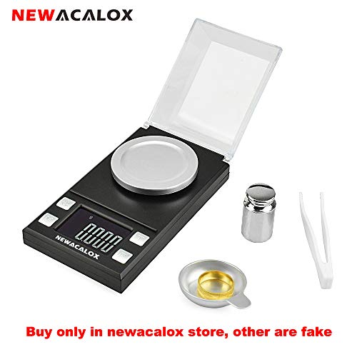 Digital Portable Milligram Scale 50 x 0.001g NEWACALOX High Precision Jewelry Lab Reload Powder Gold Scales,Tare with Calibration Weights