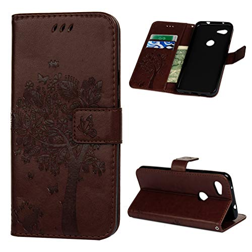 - Compatible with Google Pixel 3A Case,Embossed Front Buckle Leather TPU Inner Shell Anti-Scratch Shockproof Thin Mobile Phone Case.Tree Brown
