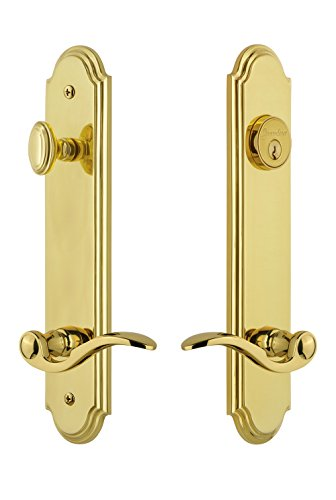(Grandeur Hardware 841022 Arc Tall Plate Complete Entry Set with Bellagio Lever, Backset Size - 2.75