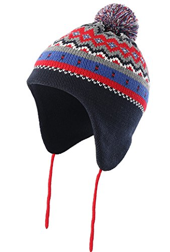 Cotton Lined Cap (Connectyle Infant Toddler Boys Girls Knit Kids Hat Lined Beanie Hat with Earflap Warm Winter Hats with Pom,Navy Blue,L:2T-5T(18.9