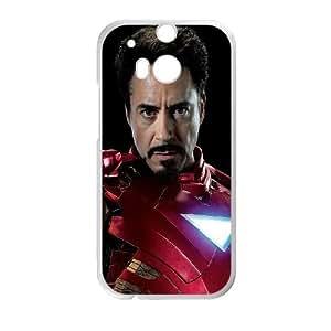 Iron Man The Avengers Robert Downey Junior 100010 funda HTC One M8 caja funda del teléfono celular del teléfono celular blanco cubierta de la caja funda EVAXLKNBC23669