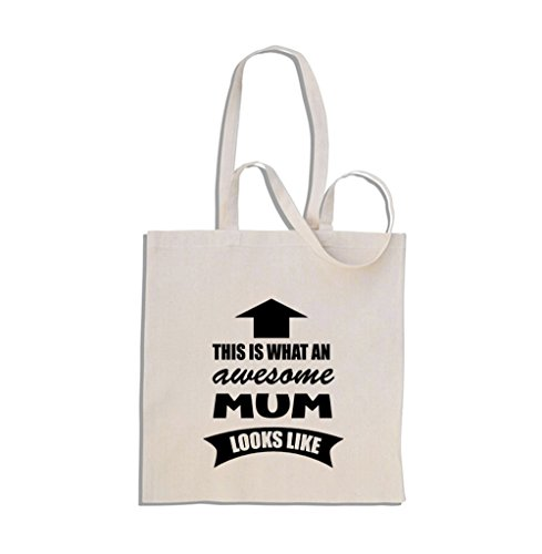 This is What an Awesome Mum Looks Like - Shopping Bag Di Cotone Crema