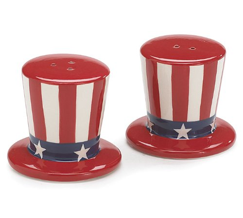 - Burton & Burton USA Flag Salt and Pepper Shakers Patriotic Uncle Sam Hats