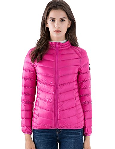 CHERRY CHICK for Weight 154 LB Women's Reversible Down Jacket (L, Rose-Printed Light Gray)