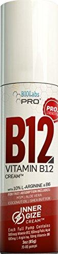 INNERGIZE B12 Cream - All Natural Topical B12 w/B6 & 10% L-Arginine - Advanced Neurological & PreWorkout Support - Professional Grade Methyl B12 - B6 (P-5-P) & Folic Acid - 3oz