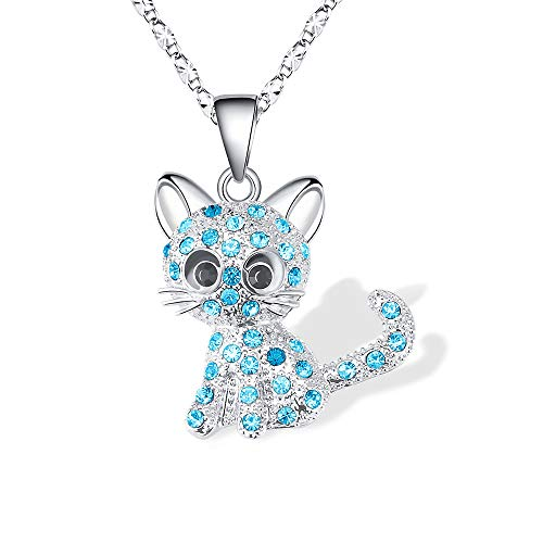 Lanqueen Kitty Cat Pendant Necklace Jewelry for Women Girls Kids, Cat Lover Gifts Daughter Loved Necklace 18+2.3 inch Chain,Blue]()