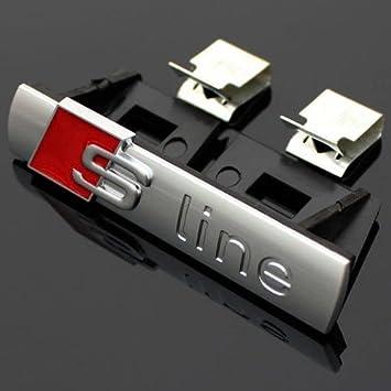 2 x Audi Sline S Line Emblem Zeichen Schriftzug Logo Schwarz Glänzend
