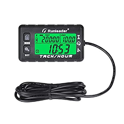 Runleader Hour Meter Tachometer, Maintenance Reminder, Alert RPM Reminder, Initial hours Settable, Battery replaceable, Use for Lawn Mower Generator Marine ATV and Gas Powered Equipment (HM058B-BK): Automotive [5Bkhe0800337]