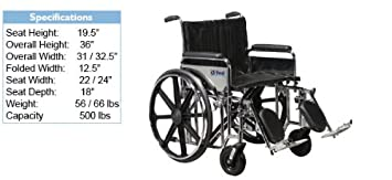 Bariatric Wheelchair | Sentra Heavy Duty Bariatric Wheelchair: Width    24u0026quot;