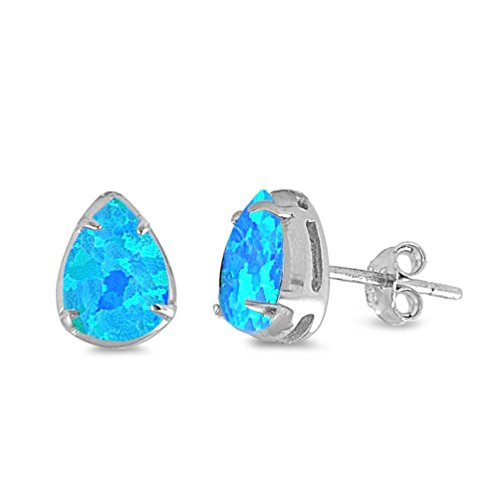 Sterling Silver Blue Created Opal Pear Stud Earrings - (Blue Opal Earrings)