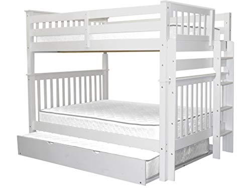 Bedz King Bunk Beds Full over Full Mission Style with End Ladder and a Full Trundle, White