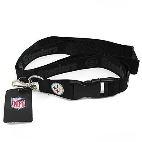 NFL Pittsburgh Steelers Black On Black Lanyard with Color Logo Buckle - Pittsburgh Steelers Logo Nylon