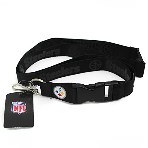 (NFL Pittsburgh Steelers Black On Black Lanyard with Color Logo Buckle)