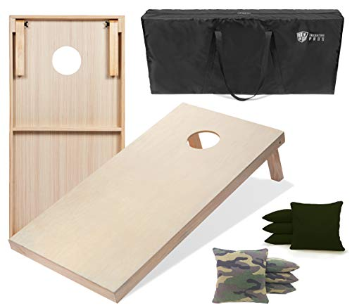 Tailgating Pros 4'x2' & 3'x2' Cornhole Boards w/Carrying Case & Set of 8 Cornhole Bags (You Pick Colors) 150+ Color Combos! (Green Camo/Hunter, 4'x2' Boards) ()