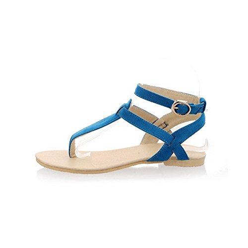 Mujer De Puntera Azul Hebilla Sólido Sandalias Dividida Esmerilado Vestir Aalardom Tacón Mini 4BqF1xwa