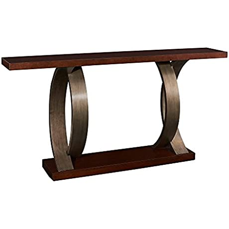 Powell Miles Collection D1016A16 72 Console With Birch Veneer Gunmetal Metallic Bent Wood Legs And Bottom Shelf In Dark